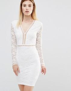 Платье мини с глубоким вырезом и кружевными рукавами AX Paris - Кремовый