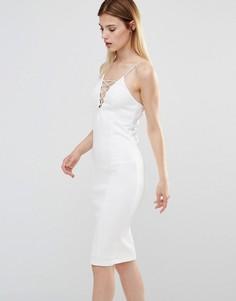 Платье миди со шнуровкой спереди AX Paris - Кремовый