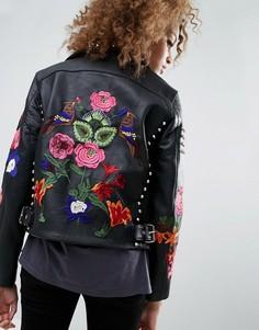 Кожаная байкерская куртка с цветами и заклепками ASOS Premium - Черный