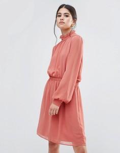Платье с оборкой на воротнике Traffic People - Розовый