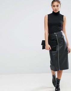 Кожаная юбка-карандаш с карманами на молнии ASOS - Черный