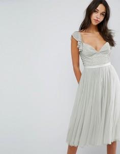 Платье миди из тюля с рукавами рюшами Needle & Thread Swan - Зеленый