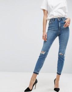 Узкие джинсы в винтажном стиле с дырками на коленях ASOS FARLEIGH - Синий