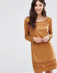 Платье с длинными рукавами Vila Drawn - Коричневый