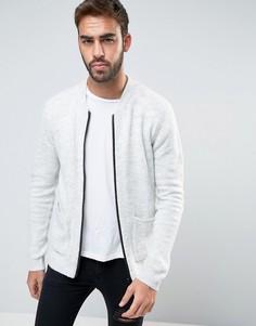 Мягкая трикотажная куртка-пилот с карманами ASOS - Серый