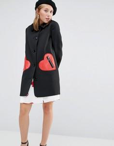 Жаккардовая куртка с карманами в форме сердца Love Moschino - Черный