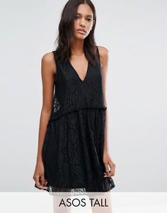 Кружевное платье с присборенной юбкой ASOS TALL - Черный