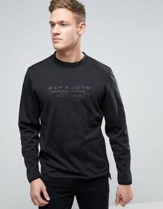 Длинный свитшот с молниями по бокам и логотипом Jack & Jones - Черный