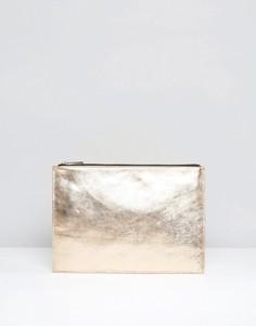 Кожаный клатч металлик на молнии ASOS - Медный
