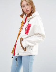 Куртка с капюшоном и молниями Love Moschino - Белый