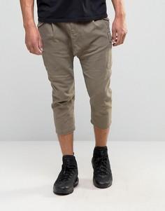 Укороченные брюки в стиле карго с заниженным шаговым швом ASOS - Коричневый