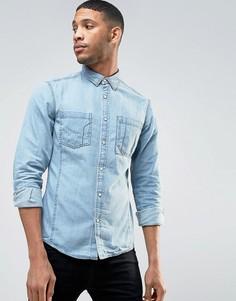 Узкая джинсовая рубашка с длинными рукавами Esprit - Синий