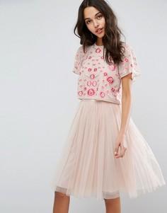 Топ с цветочной вышивкой Needle & Thread - Розовый