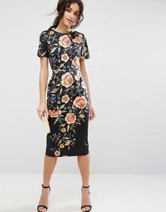 Платье с цветочной вышивкой ASOS - Мульти