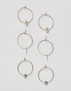 Набор из 3 пар сережек-колец с подвесками ASOS - Мульти