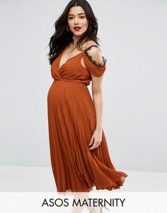 Приталенное платье миди ASOS Maternity - Оранжевый