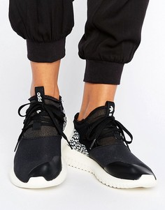 Черные кроссовки с кожаными вставками с потрескавшимся эффектом adidas Originals Tubular - Черный