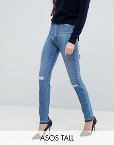 Узкие джинсы в винтажном стиле с рваными коленями ASOS TALL FARLEIGH - Синий
