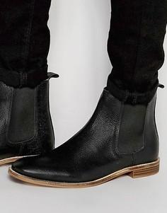 Черные ботинки челси из зернистой кожи с подошвой натурального цвета ASOS - Черный