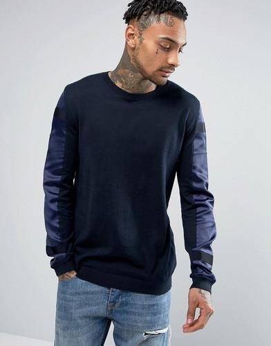 Джемпер со вставками из контрастной ткани на рукавах ASOS - Темно-синий