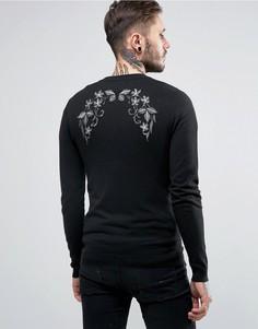 Вязаная куртка-пилот с вышивкой металлик ASOS - Черный