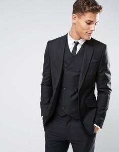 Узкий черный пиджак из 100% шерсти ASOS - Черный