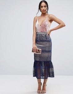 Кружевная юбка-карандаш с баской ASOS - Мульти