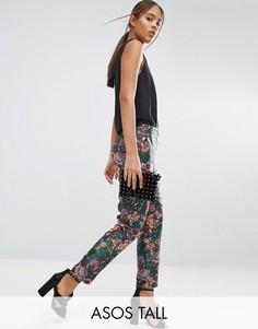 Жаккардовые брюки-сигареты с цветочным узором ASOS TALL - Мульти