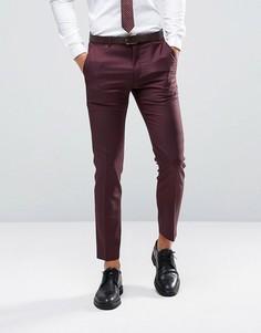 Зауженные брюки темно-ягодного цвета из 100% шерсти ASOS - Фиолетовый