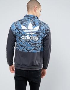 Черная куртка на молнии adidas Originals - Синий