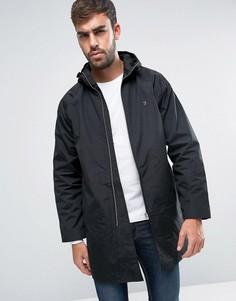 Черная длинная куртка-дождевик с капюшоном Farah - Черный