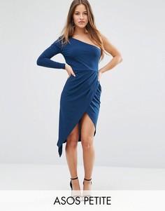 Платье миди на одно плечо с запахом ASOS PETITE - Синий