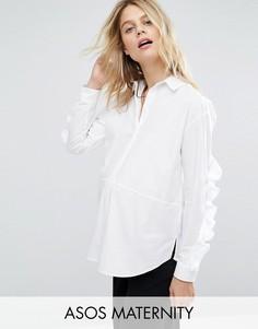 Хлопковая рубашка с рюшами на рукавах ASOS Maternity - Белый