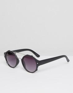 Круглые солнцезащитные очки в матовой черной оправе Quay - Черный