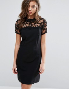 Цельнокройное платье с кружевной кокеткой Miss Selfridge - Черный