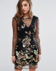 Платье мини с вышивкой и пайетками на сетчатой отделке Miss Selfridge - Мульти