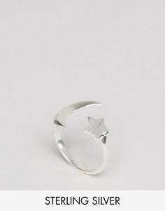 Серебряное незамкнутое кольцо с луной и звездой ASOS - Серебряный