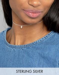 Серебряное ожерелье-чокер с подвеской-камнем ASOS - Серебряный