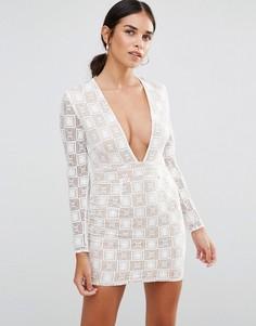 Кружевное платье мини с длинными рукавами и декольте Rare - Белый