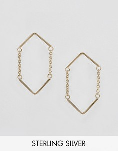 Треугольные серьги из позолоченного серебра с цепочками ASOS - Золотой