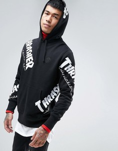 Худи с логотипом HUF x Thrasher - Черный