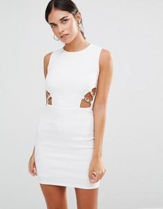 Облегающее платье с вырезами Rare - Кремовый