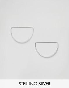 Серебряные серьги-гвоздики в форме полукольца ASOS - Серебряный