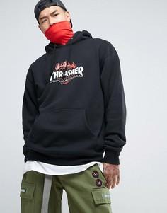 Худи с принтом на спине HUF x Thrasher - Черный