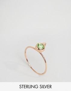 Серебряное позолоченное кольцо с камнем для родившихся в августе ASOS - Кремовый