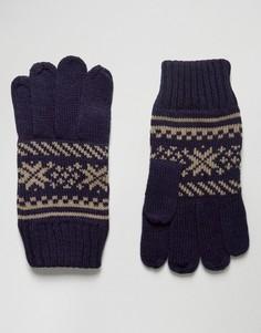 Перчатки с узором Фэйр-Айл 7X - Темно-синий
