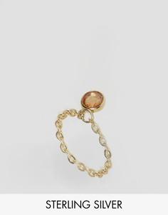 Серебряное позолоченное кольцо-цепочка с камнем ASOS - Золотой