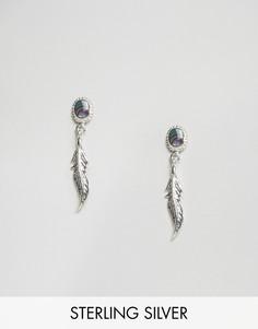 Серебряные серьги с подвеской-пером и ракушкой морское ушко ASOS - Серебряный