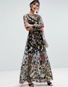 Полупрозрачное платье макси с вышивкой ASOS SALON - Мульти