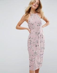 Платье-футляр миди с отделкой и драпировкой сзади ASOS - Розовый